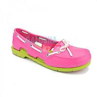 Женская обувь розовая CROCS Women's Beach Line Boat Shoe