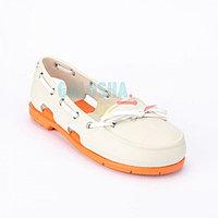 Женская обувь светло серая оранжевая CROCS Women's Beach Line Boat Shoe