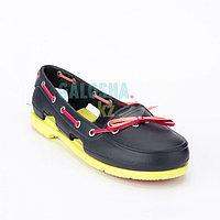 Женская обувь темно синяя желтая CROCS Women's Beach Line Boat Shoe