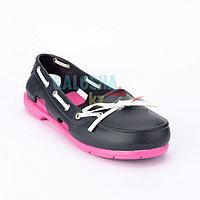 Женская обувь темно синяя розовая CROCS Women's Beach Line Boat Shoe
