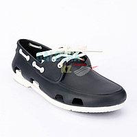 Мужские темно-синие белыетопсайдеры CROCS Men's Classic Boat Shoe 45