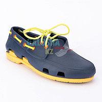 Мужские темно-синие желты топсайдеры CROCS Men's Classic Boat Shoe