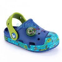 Детские синие сабо с компасом Crocs Bump It Sea Life Clog Kids