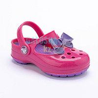 Неоновый пурпурный сабо для девочек CROCS Kids' Carlie Glitter Bow Mary Jane