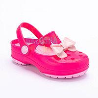 Неоновый розовый сабо для девочек CROCS Kids' Carlie Glitter Bow Mary Jane