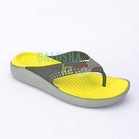 Серо желтые шлепанцы CROCS LiteRide Flip 40-41