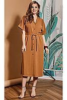Женское летнее из вискозы коричневое большого размера платье VIZANTI 8086 коричневый 42р.