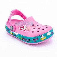 Детские розовые сабо Crocs Hello Kitty Plane Clog Carnation