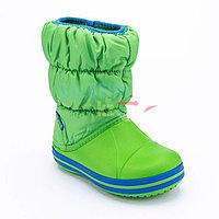 Детские зеленые сапоги CROCS Kids Winter Puff Boot