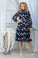 Женское осеннее шифоновое большого размера платье Ninele 7315 синий_ирисы 48р.