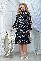 Женское осеннее шифоновое большого размера платье Ninele 7315 черный_ирисы 48р.