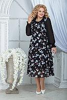 Женское осеннее шифоновое большого размера платье Ninele 7316 черный_ирисы 48р.