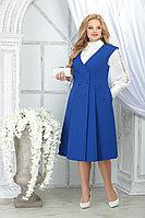 Женский осенний шифоновый синий большого размера комплект с платьем Ninele 5826 василёк 48р.