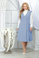 Женский осенний шифоновый голубой большого размера комплект с платьем Ninele 5826 голубой 48р.