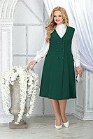 Женский осенний шифоновый зеленый большого размера комплект с платьем Ninele 5826 изумруд 48р.