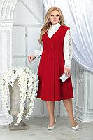 Женский осенний шифоновый красный большого размера комплект с платьем Ninele 5826 красный 48р.