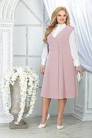 Женский осенний шифоновый розовый большого размера комплект с платьем Ninele 5826 пудра 48р.