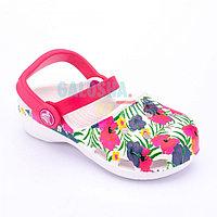Белые сандалии для девочек Crocs Karin Colourful Flowers Clog Girls