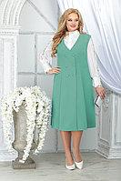 Женский осенний шифоновый зеленый большого размера комплект с платьем Ninele 5826 светло-зелёный 48р.