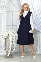 Женский осенний шифоновый синий большого размера комплект с платьем Ninele 5826 синий 48р.