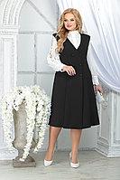 Женский осенний шифоновый черный большого размера комплект с платьем Ninele 5826 черный 48р.