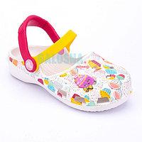Белые сандалии для девочек CROCS Karin Cupcake Clog Girls 25 (C8)
