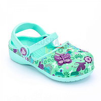 Бирюзовые сандалии для девочек CROCS Karin Butterfly Clog Girls Raspberry