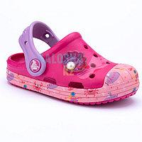 Детские малиновые сабо Crocs Bump It Sea Life Clog Kids 26 (C9)