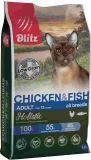 BLITZ Holistic КУРИЦА и РЫБА 1,5кг низкозерновой сухой корм для взрослых кошек ADULT CAT CHICKEN & FISH