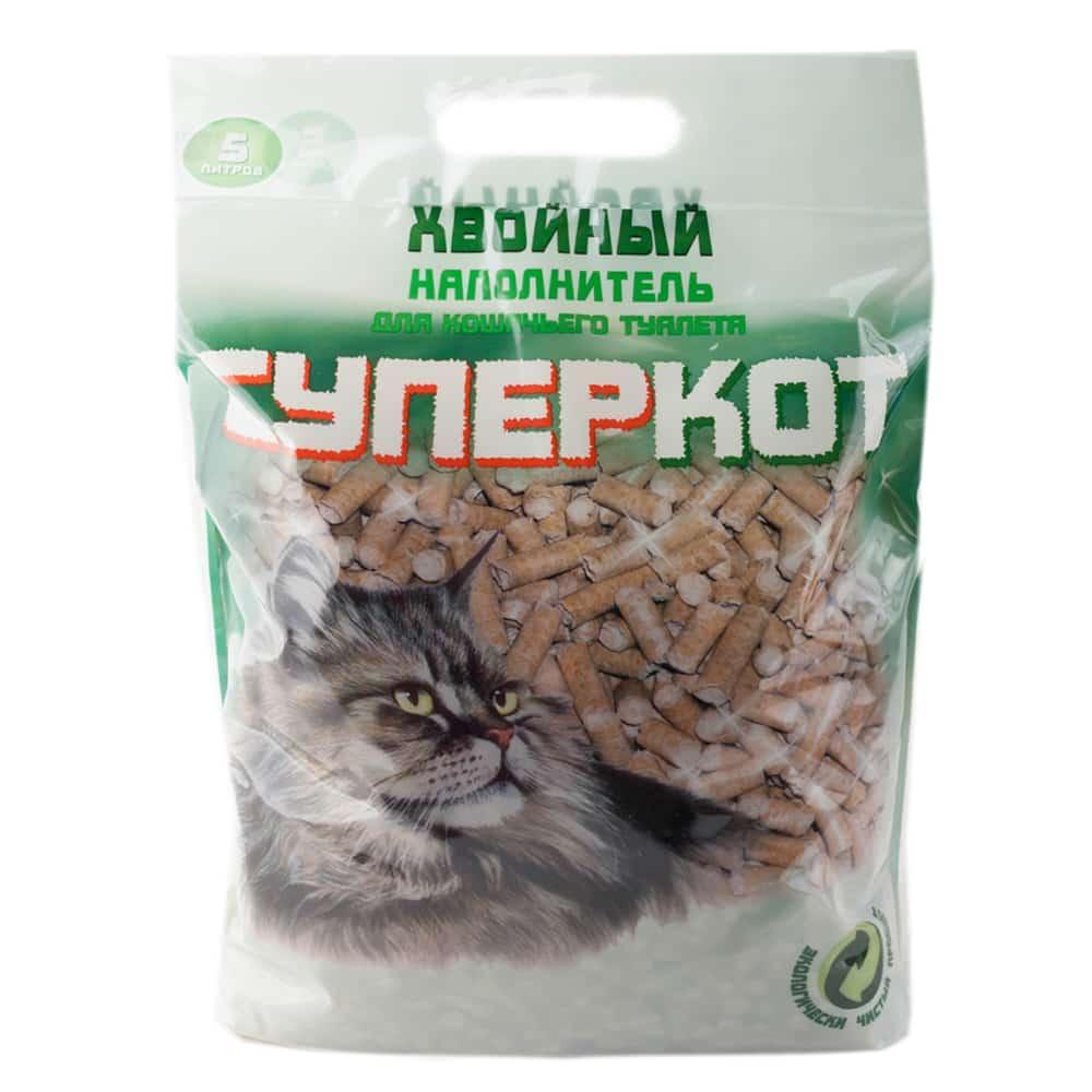 Супер Кот Древесный хвойный наполнитель, 5 л