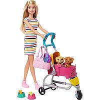 Кукла Барби с щенком в коляске