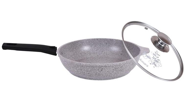 Сковорода 240/60мм. со съемной ручкой и стекл. крышкой, (светлый мрамор)