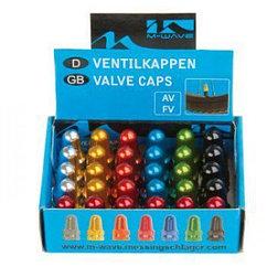 Аксессуар на ниппель Messingschlager valve caps, for AV/FV, black/gold/orange/green/blue/silver