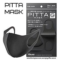 Многоразовая Японская PITTA маска 3шт в пачке моющая полиуретановая японская многослойная черная