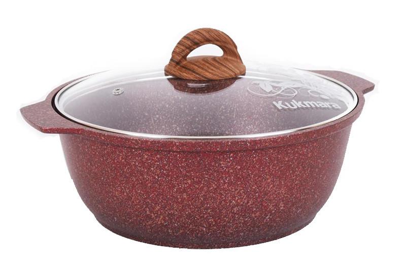 """Кастрюля-жаровня 4 литра со стеклянной крышкой, """"Granit ultra"""" (red)"""