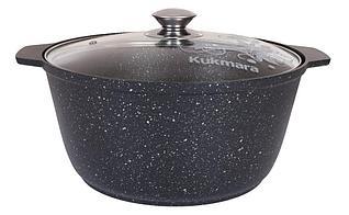 Кастрюля-жаровня 5 литров со стеклянной крышкой, (темный мрамор)