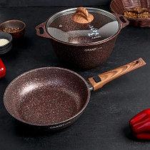 """Набор кухонной посуды, сковорода и кастрюля с крышкой """"Granit ultra"""" (red)"""