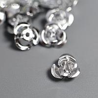 """Декор для творчества металл """"Розочки серебро"""" набор 100 шт 0,8х0,8 см"""