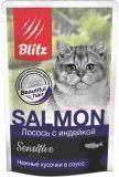BLITZ 85г SALMON CAT (Лосось с индейкой) влажный корм для кошек