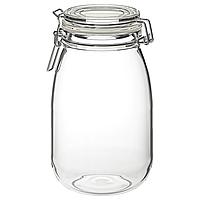 Банка с крышкой из прозрачного стекла IKEA КОРКЕН, 1.8л