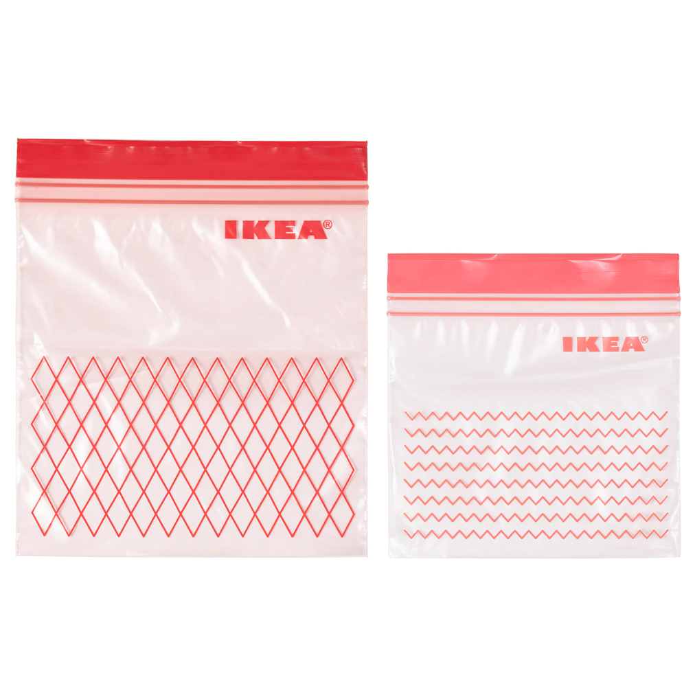 Пакеты для хранения продуктов с застежкой zip-lock IKEA ИСТАД красный, 60шт - фото 1