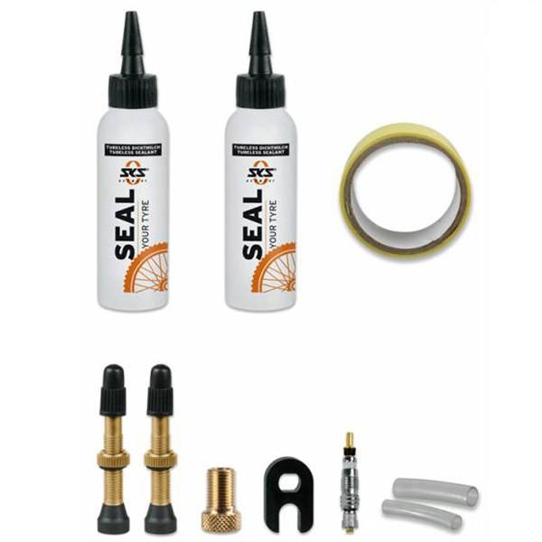 SKS  комплект флипперов,нипелей и жидкости для безкамерных покрышок 25mm
