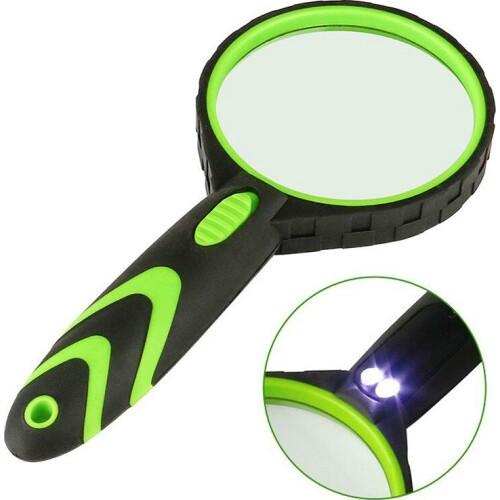 Лупа  с подсветкой 2 led черно-зеленая 75мм