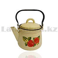Чайник для кипячения воды эмалированный 1,5 литра с рисунком малины