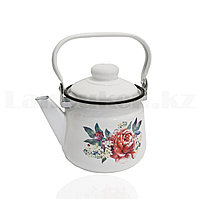 Чайник для кипячения воды эмалированный 1,5 литра с рисунком цветов