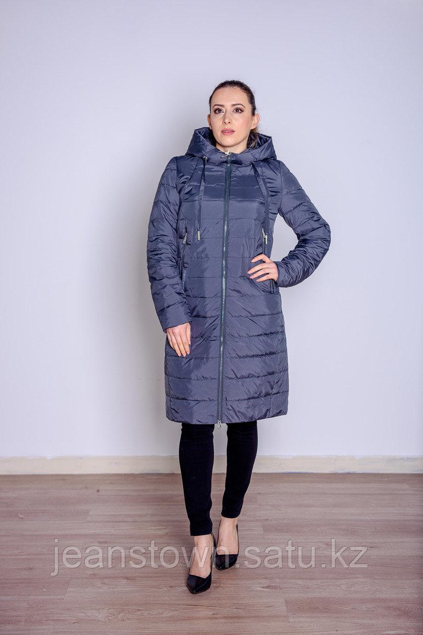 Куртка женская демисезонная  Miegofce длинная серo-зеленая