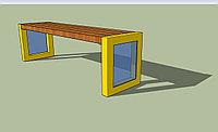 Скамейка деревянная на стальном основании