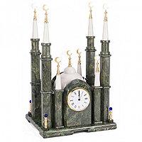 """Часы """"Мечеть"""" из камня змеевик мрамор большая"""