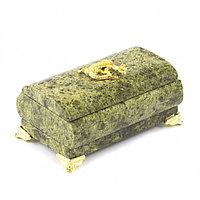 Шкатулка для украшений с ящерицей камень змеевик 10х5х6 см