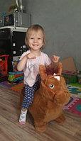 Мягкие плюшевые Прыгуны-животные Pituso Лошадка PVC+съемный плюшевый чехол, с насосом Коричневый
